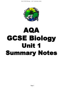 Preview of biology revision notes