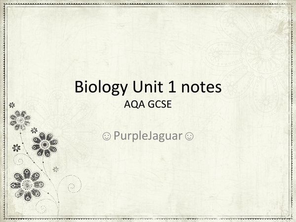 Preview of Biology Unit 1