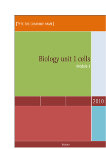 Preview of Biology unit 1 cells