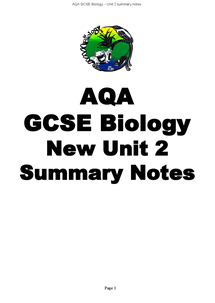 Preview of Biology Unit 2 Summary Notes