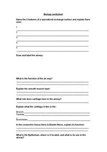 Preview of Biology Worksheet