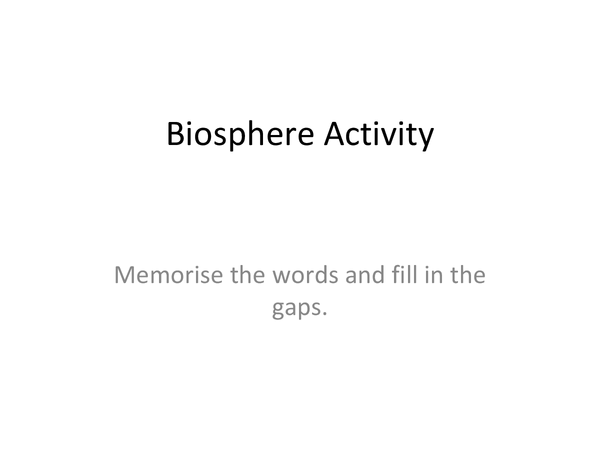 Preview of Biosphere Activity