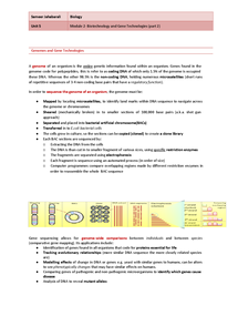 Preview of Biotechnology and Gene Technologies (part2), OCR- unit 5, module 1