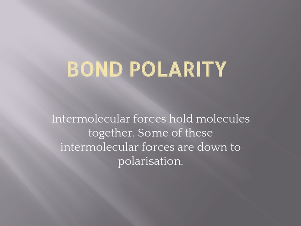 Preview of Bond Polarity
