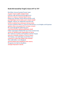 Preview of Book XII Aeneid by Virgil  Lines 697 to 707 TRANSLATION