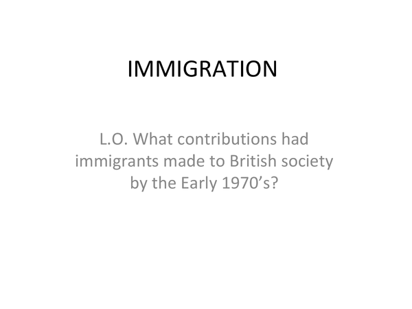 Preview of British Depth Study (Immigration)