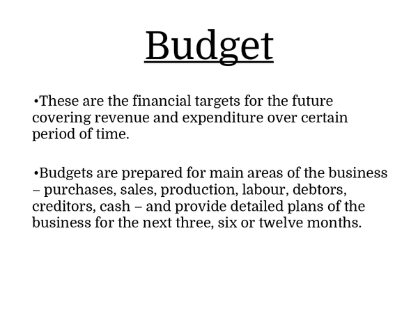 Preview of Budget