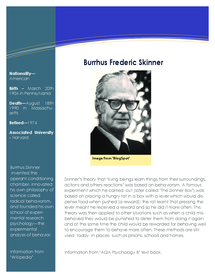 Preview of Burrhus Frederic Skinner Information Sheet