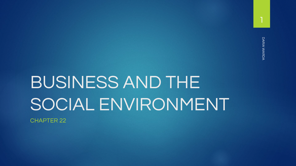 Preview of BUSINESS and the SOCIAL ENVIRONMENT