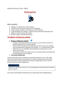 Preview of Business Revison Notes 1AS.1