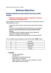 Preview of Business Revison Notes 1AS.4