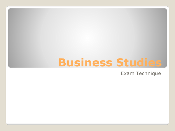 Preview of Business Studies Exam Assessment Objectives