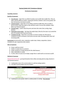 Preview of Business Studies GCSE AQA Unit 2 Revision