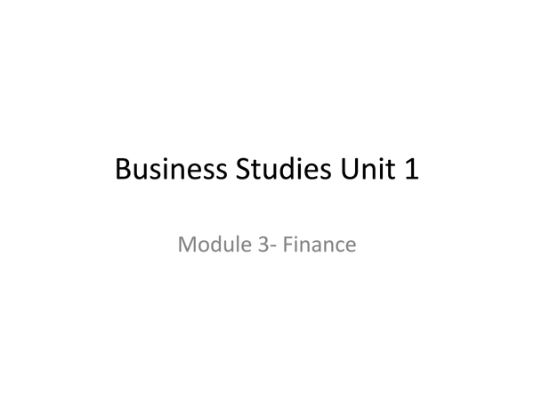 Preview of Business studies module 3 Finance