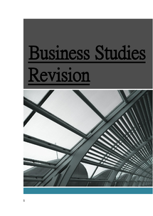 Preview of Business Studies Revision Notes