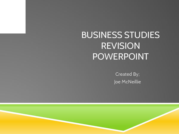 Preview of Business Studies Unit 1