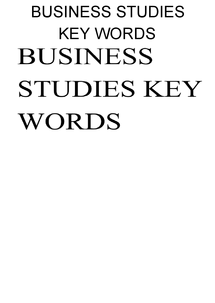 Preview of business studies: unit 1: key words