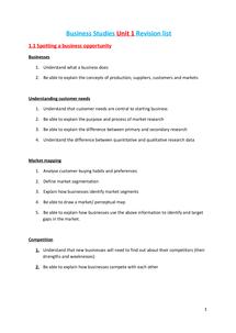Preview of Business Studies Unit 1 Revision List