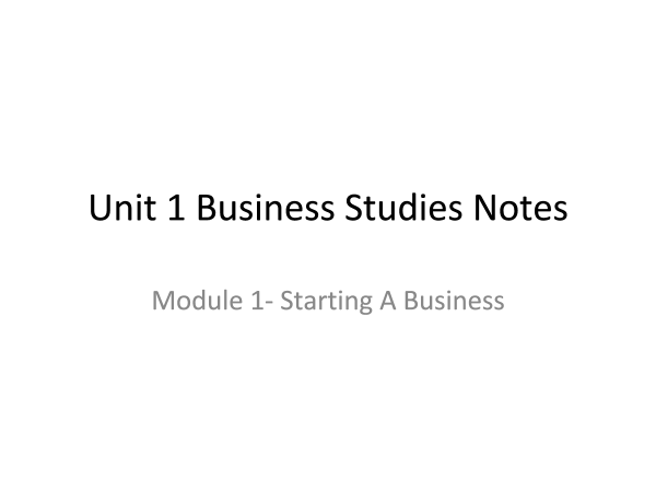 Preview of Business Studies- unit 1 Starting A Business powerpoint