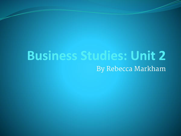 Preview of Business Studies Unit 2