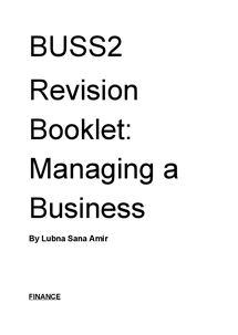 Preview of Business Studies Unit 2 AQA