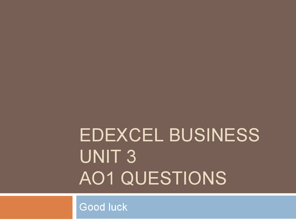 Preview of Business studies Unit 3; AO1 questions