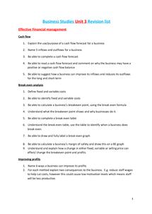 Preview of Business Studies Unit 3 Revision List