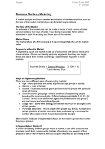 Preview of Business Studies�Marketing Segmentation Notes