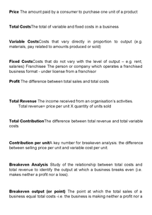 Preview of BUSS1 AQA FINANCIAL PLANNING KEY WORDS