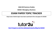 Preview of BUSS4 exam topic tracker - from past AQA exams