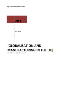 Preview of BUSS4 Manufacturing in UK - Globalisation