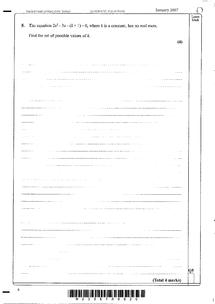Preview of C1 Quadratic Equations past paper questions