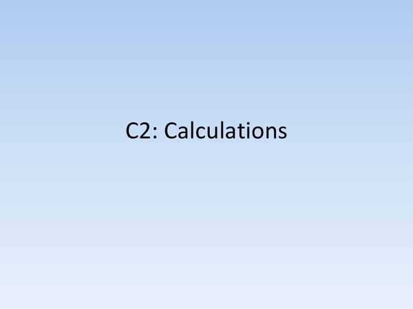 Preview of C2: Calculations