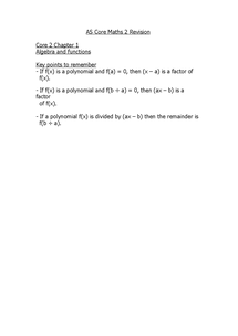 Preview of C2 Core Maths - Chapter 1 Notes