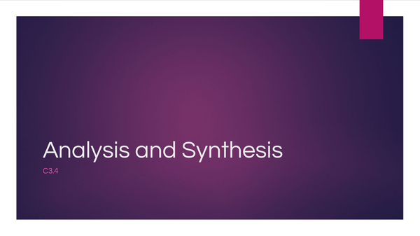Preview of C3.5 Analysis and Synthesis