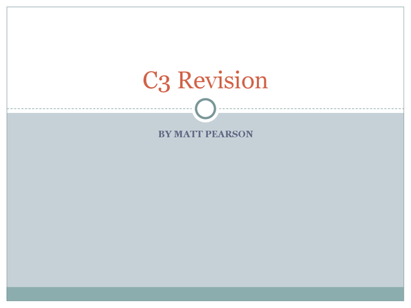 Preview of C3 Revision for Edexcel360 Revision