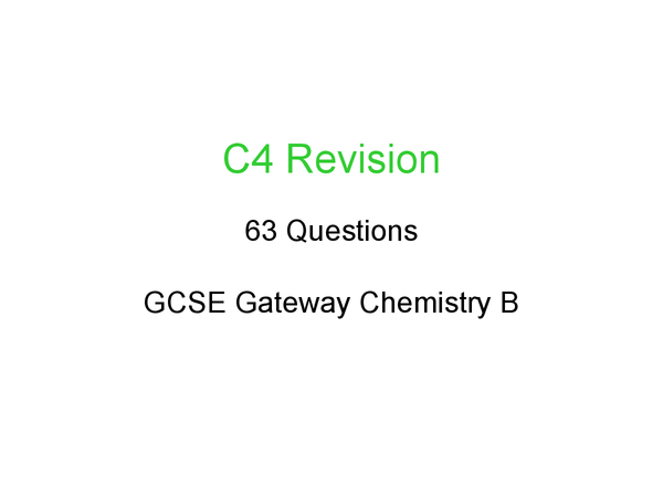 Preview of C4 revision - everything you need to know :D