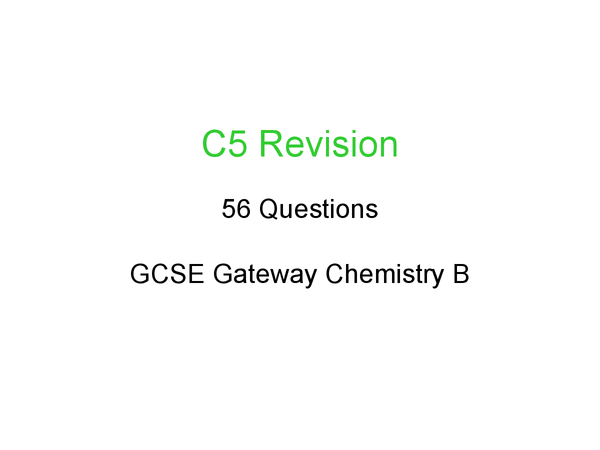 Preview of C5 revision - everything you need to know :D