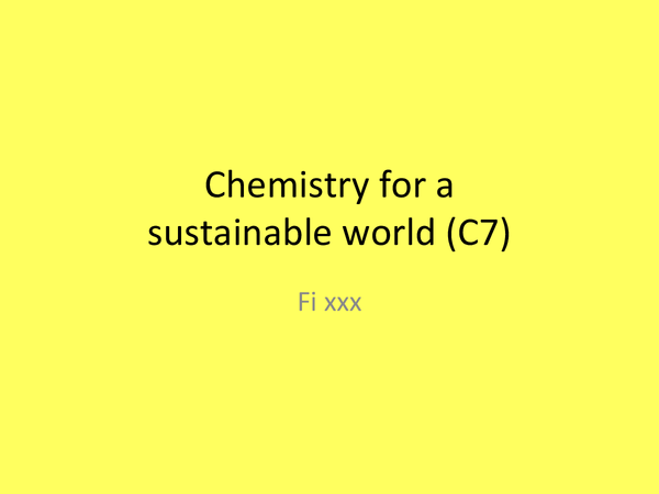 Preview of C7, Chemistry for a sustainable world