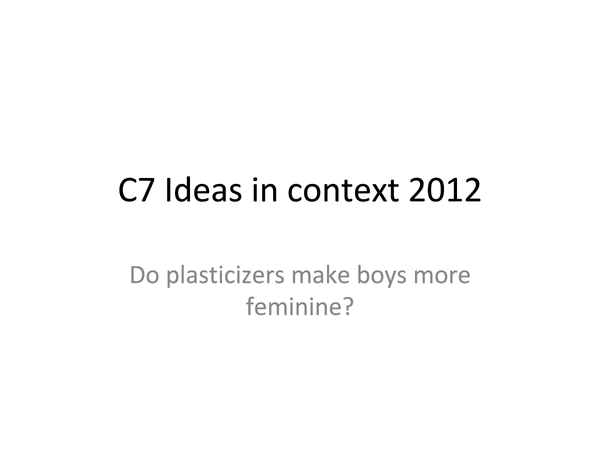 Preview of C7 Ideas in context 2012