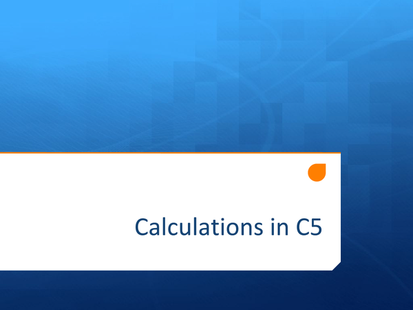 Preview of Calculations in C5