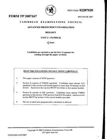 Preview of CAPE Biology Unit 2 Past Paper 2006-2007