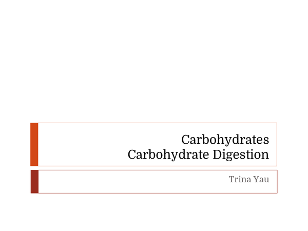 Preview of Carbohydrates and Carbohydrate Digestion