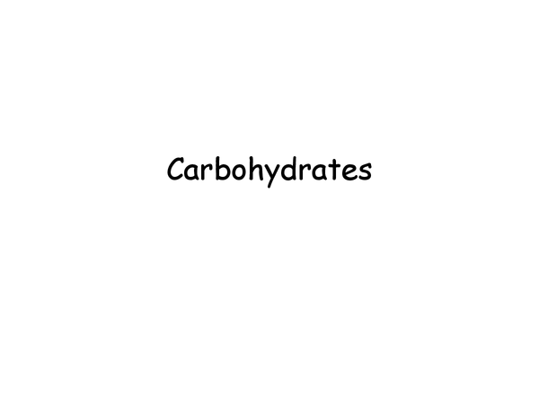 Preview of Carbohydrates, Biology UNIT 1