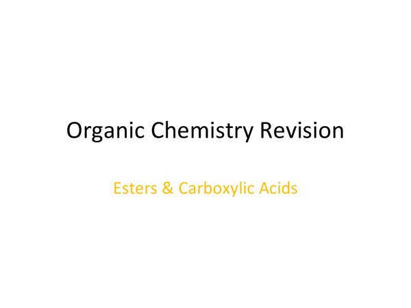Preview of Carboxylic Acids and Esters