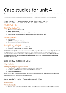 Preview of GEOG4- Tectonic activity and hazards [2014] pre-release series: #2: case Studies for unit 4.