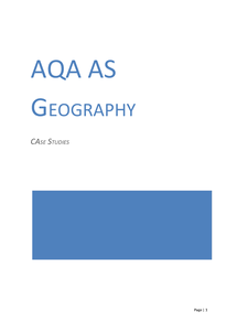 Preview of Case Study Booklet AQA AS Geography