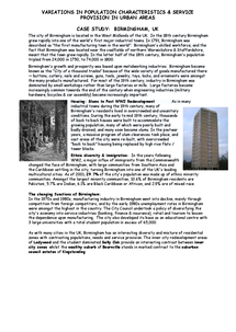 Preview of Case study notes on Birmingham - AQA Geog
