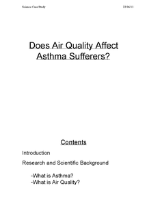 Preview of Case Study on Asthma and Air Pollutants
