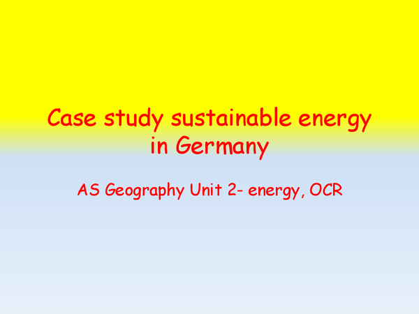 Preview of Case study sustainable energy in Germany